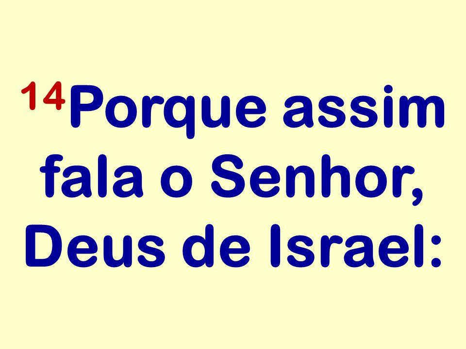 14Porque assim fala o Senhor, Deus de Israel: