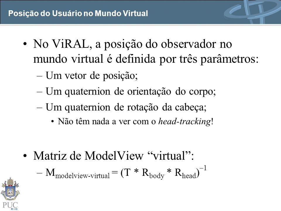 Posição do Usuário no Mundo Virtual