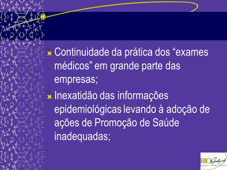 Continuidade da prática dos exames médicos em grande parte das empresas;