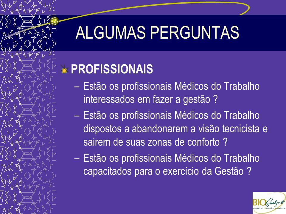 ALGUMAS PERGUNTAS PROFISSIONAIS