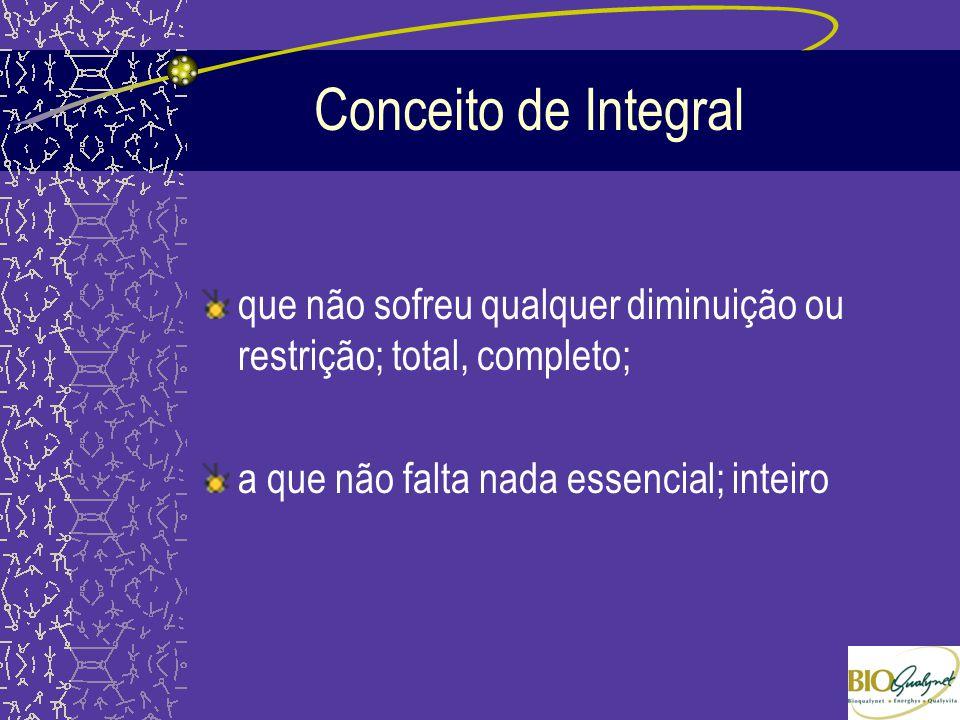 Conceito de Integral que não sofreu qualquer diminuição ou restrição; total, completo; a que não falta nada essencial; inteiro.