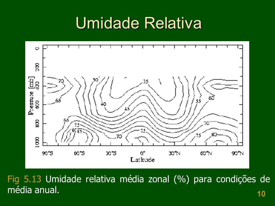 Umidade Relativa Fig 5.13 Umidade relativa média zonal (%) para condições de média anual.