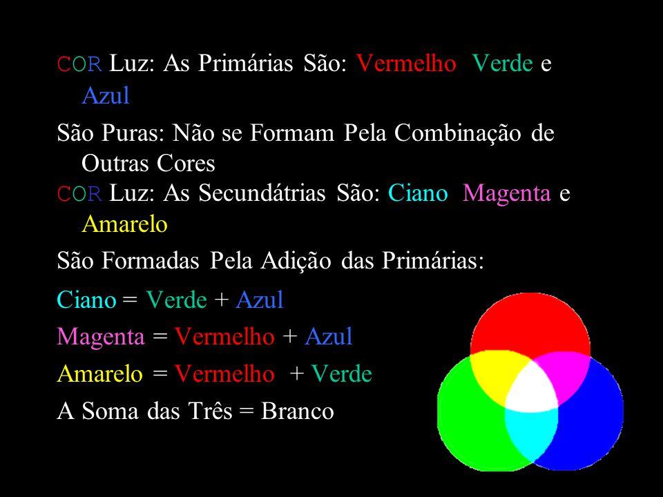 COR Luz: As Primárias São: Vermelho, Verde e Azul