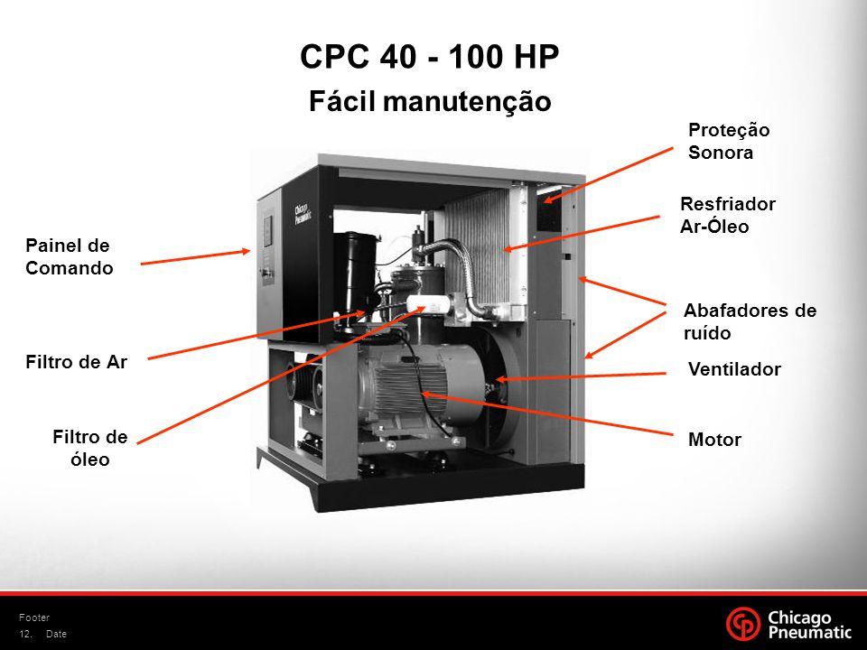 CPC 40 - 100 HP Fácil manutenção Proteção Sonora Resfriador Ar-Óleo
