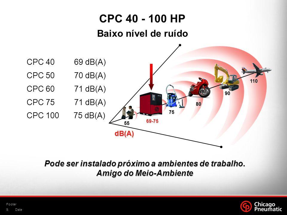 CPC 40 - 100 HP Baixo nível de ruído CPC 40 69 dB(A) CPC 50 70 dB(A)