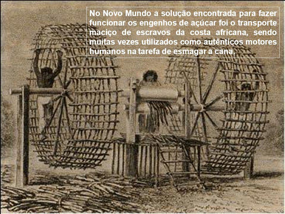 No Novo Mundo a solução encontrada para fazer funcionar os engenhos de açúcar foi o transporte maciço de escravos da costa africana, sendo muitas vezes utilizados como autênticos motores humanos na tarefa de esmagar a cana.