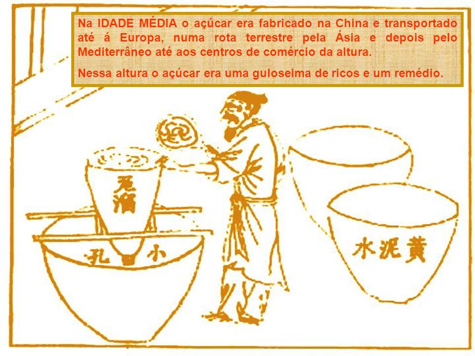 Na IDADE MÉDIA o açúcar era fabricado na China e transportado até á Europa, numa rota terrestre pela Ásia e depois pelo Mediterrâneo até aos centros de comércio da altura.