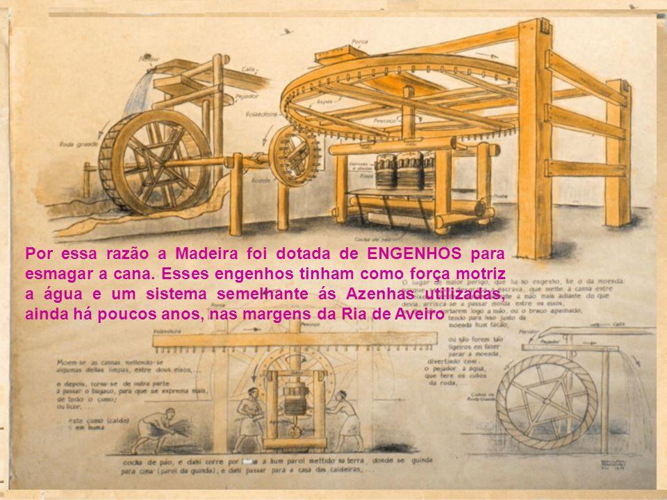 Por essa razão a Madeira foi dotada de ENGENHOS para esmagar a cana