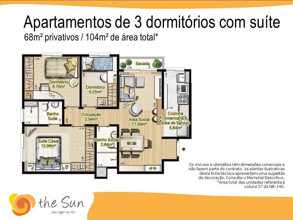 Apartamentos de 3 dormitórios com suíte