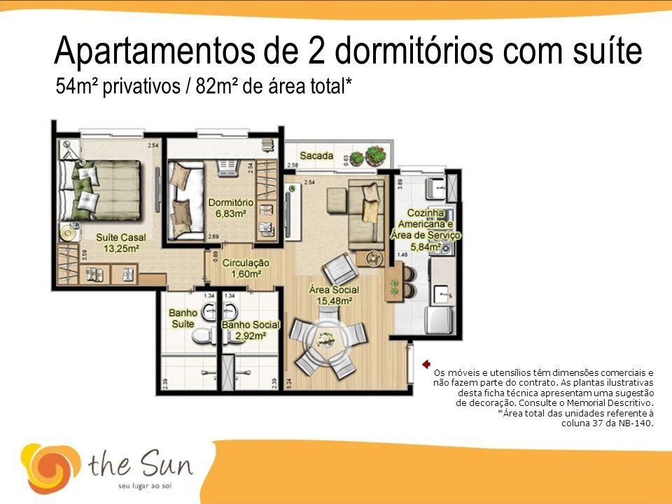 Apartamentos de 2 dormitórios com suíte