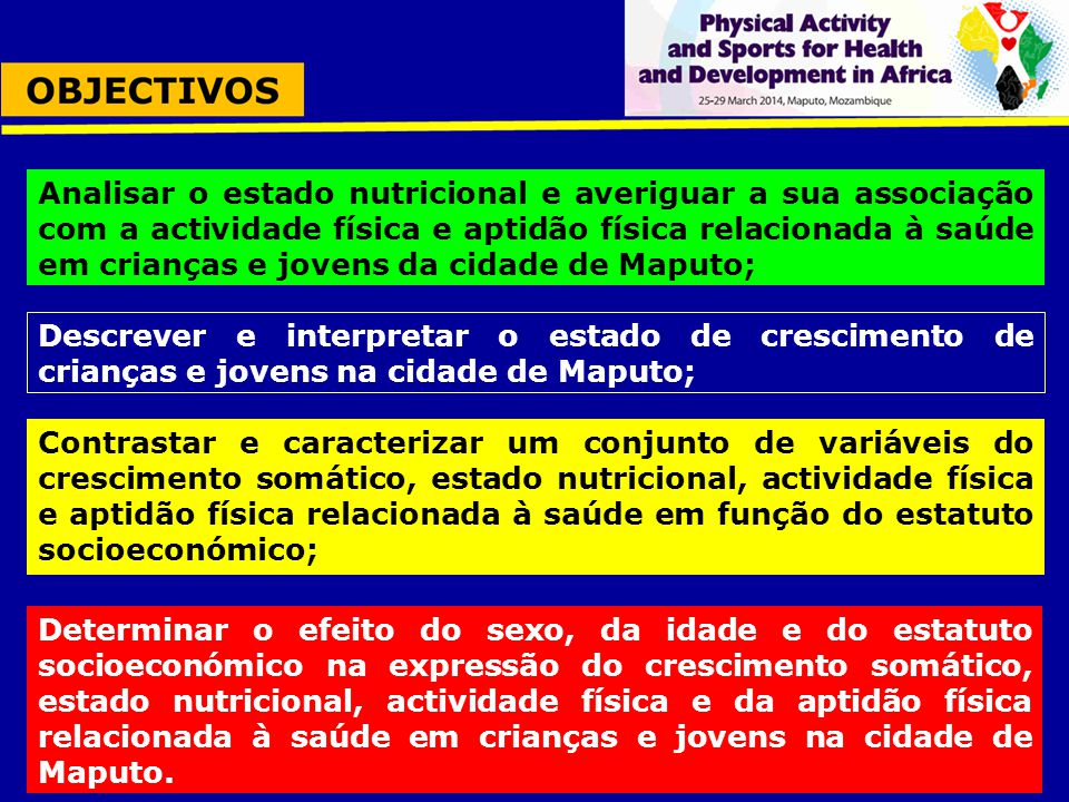 Analisar o estado nutricional e averiguar a sua associação com a actividade física e aptidão física relacionada à saúde em crianças e jovens da cidade de Maputo;