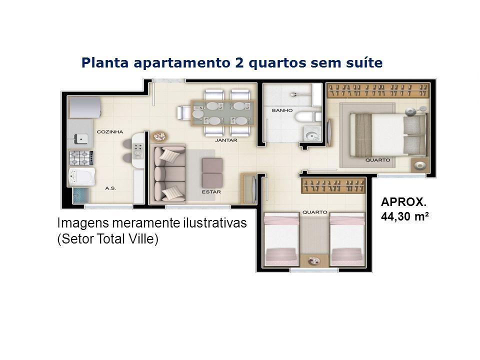 Planta apartamento 2 quartos sem suíte