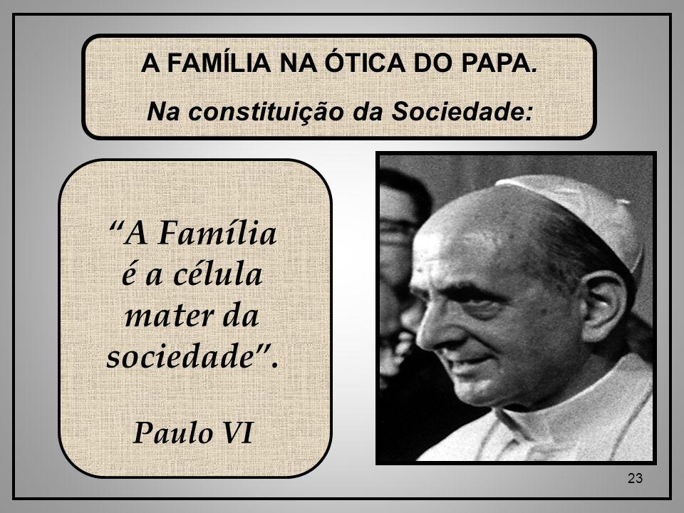 A Família é a célula mater da sociedade .
