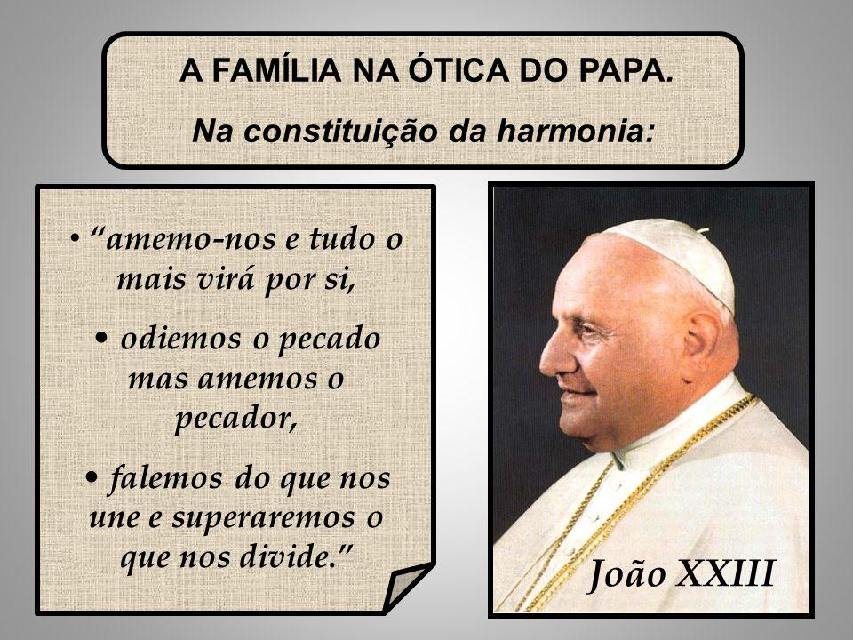 João XXIII A FAMÍLIA NA ÓTICA DO PAPA. Na constituição da harmonia: