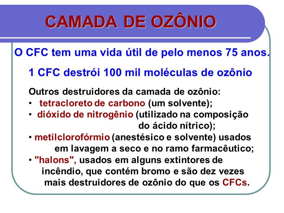 O CFC tem uma vida útil de pelo menos 75 anos.
