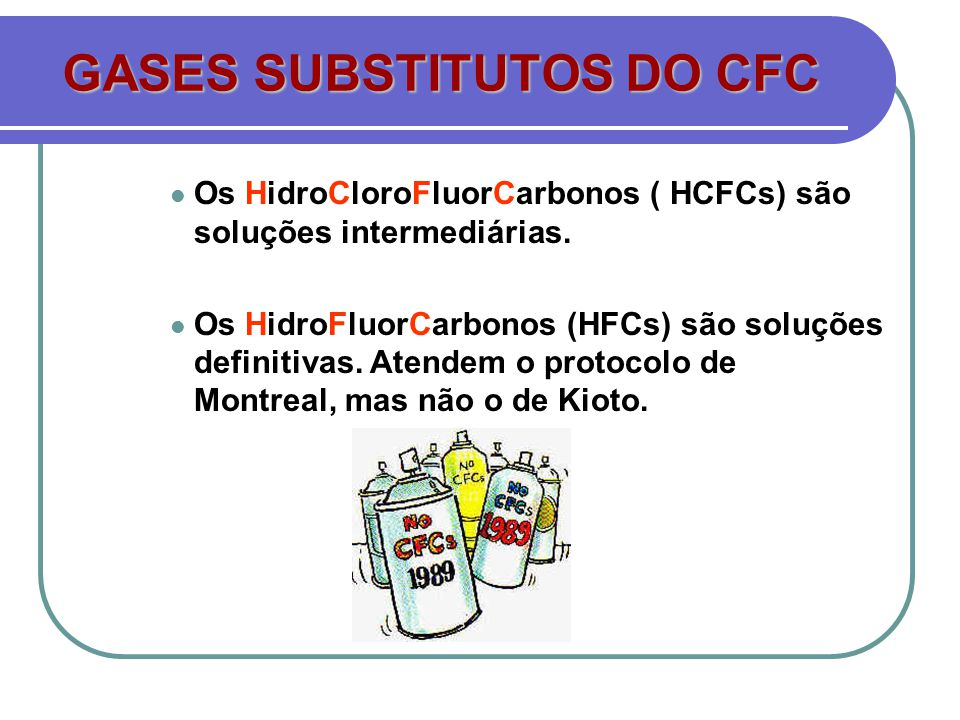 GASES SUBSTITUTOS DO CFC