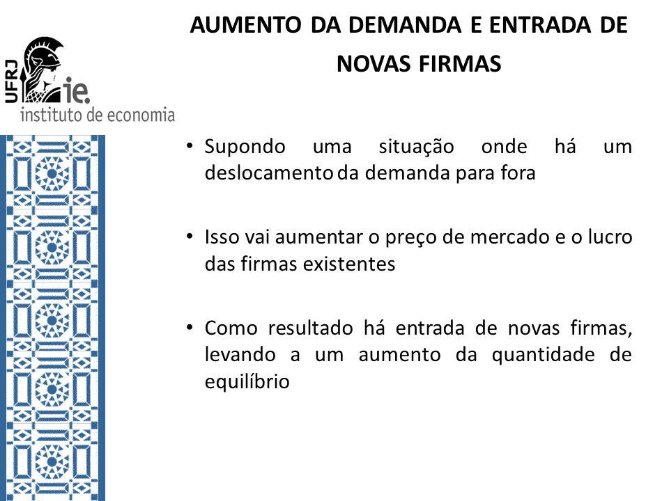 AUMENTO DA DEMANDA E ENTRADA DE NOVAS FIRMAS