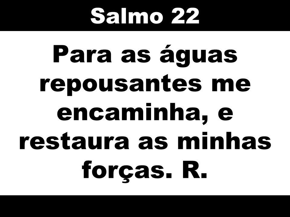 Salmo 22 Para as águas repousantes me encaminha, e restaura as minhas forças. R. 40