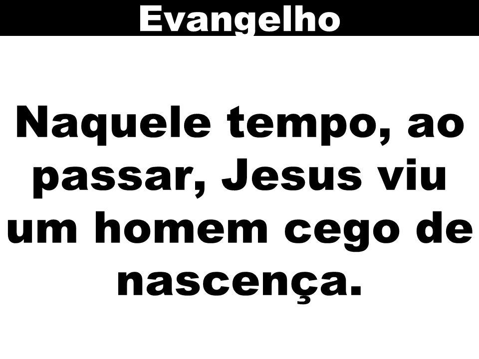 Naquele tempo, ao passar, Jesus viu um homem cego de nascença.