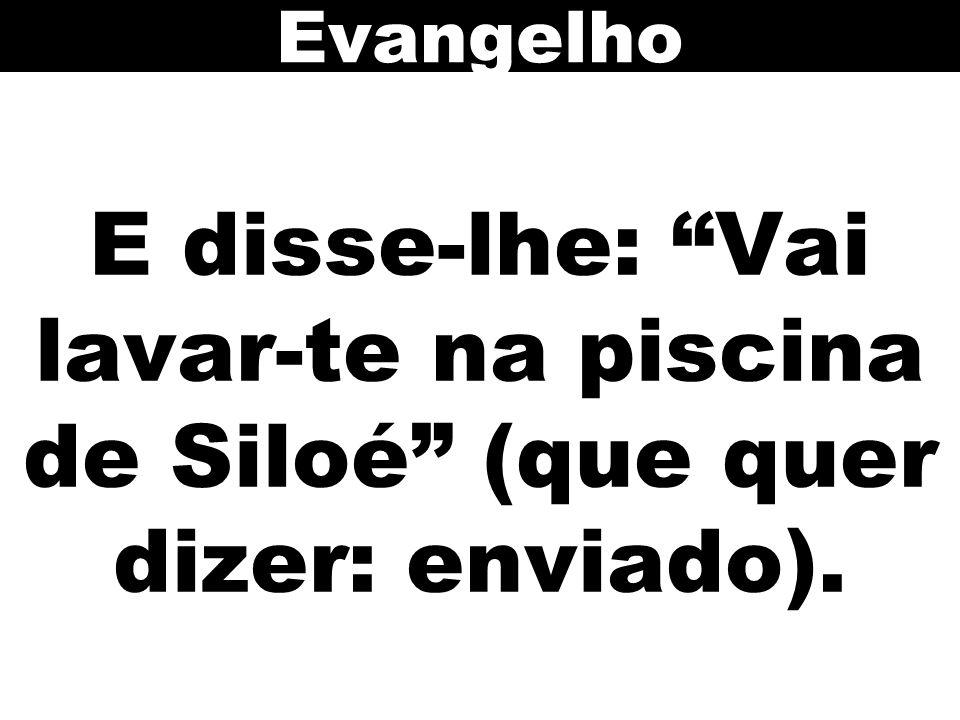 Evangelho E disse-lhe: Vai lavar-te na piscina de Siloé (que quer dizer: enviado). 79