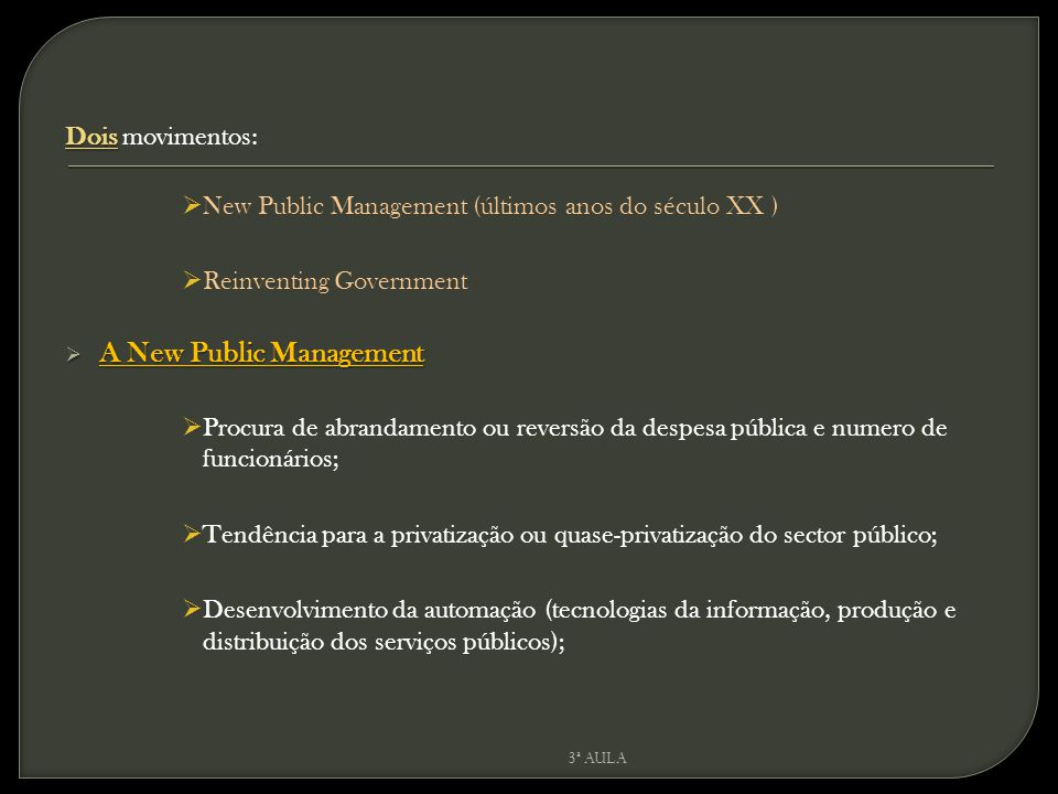 A New Public Management
