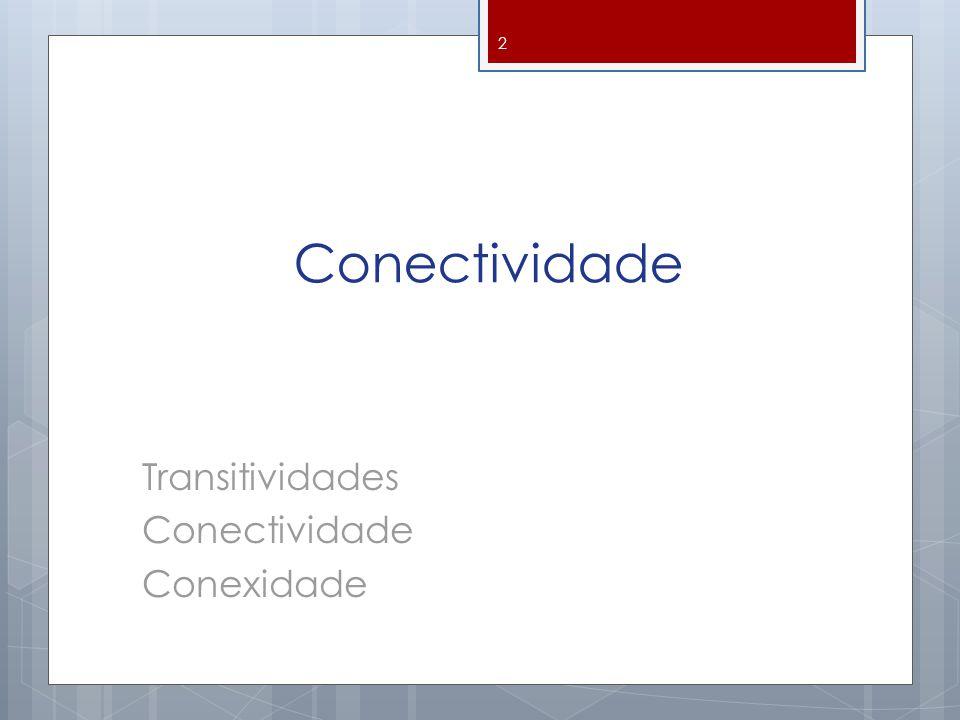Conectividade Transitividades Conectividade Conexidade
