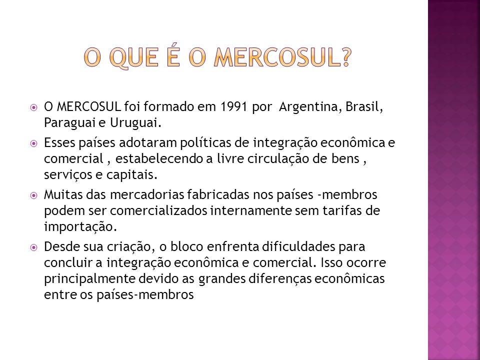 O que é o mercosul O MERCOSUL foi formado em 1991 por Argentina, Brasil, Paraguai e Uruguai.