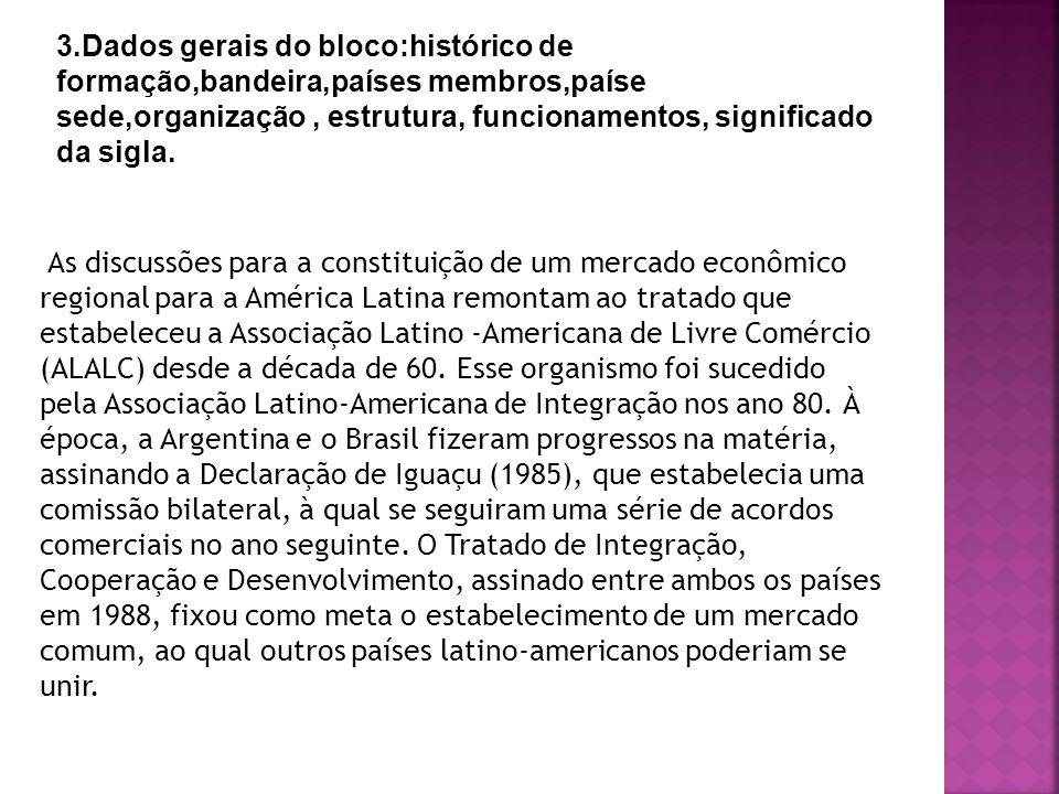 3.Dados gerais do bloco:histórico de formação,bandeira,países membros,paíse sede,organização , estrutura, funcionamentos, significado da sigla.