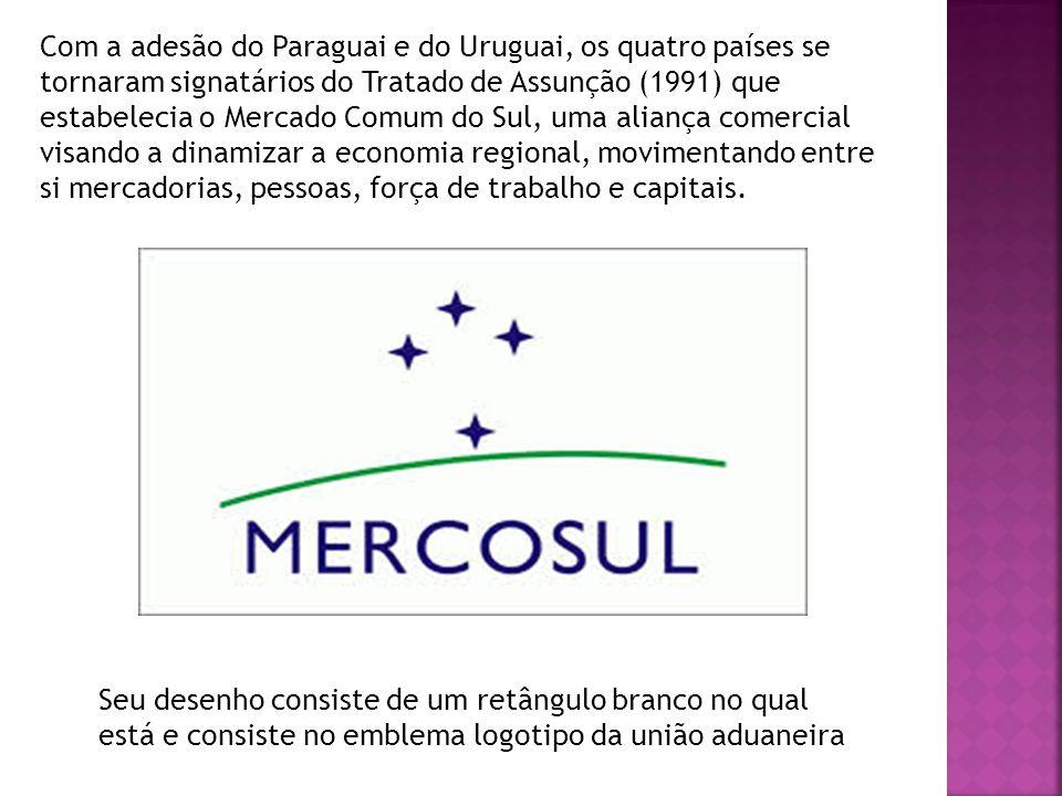 Com a adesão do Paraguai e do Uruguai, os quatro países se tornaram signatários do Tratado de Assunção (1991) que estabelecia o Mercado Comum do Sul, uma aliança comercial visando a dinamizar a economia regional, movimentando entre si mercadorias, pessoas, força de trabalho e capitais.