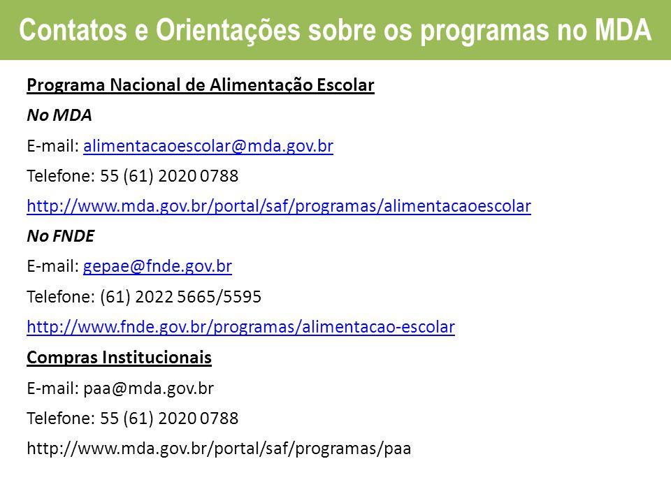 Contatos e Orientações sobre os programas no MDA