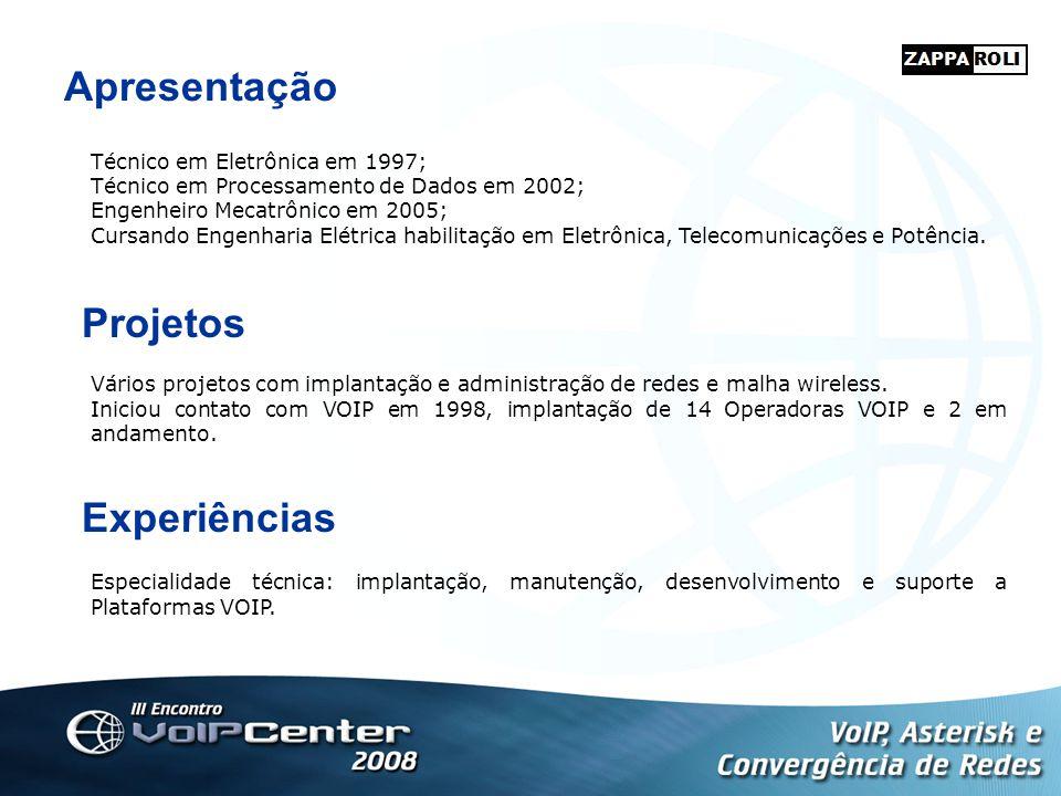 Apresentação Projetos Experiências Técnico em Eletrônica em 1997;