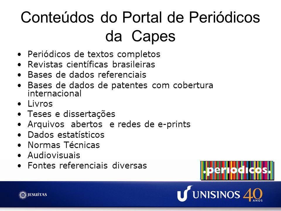 Conteúdos do Portal de Periódicos da Capes