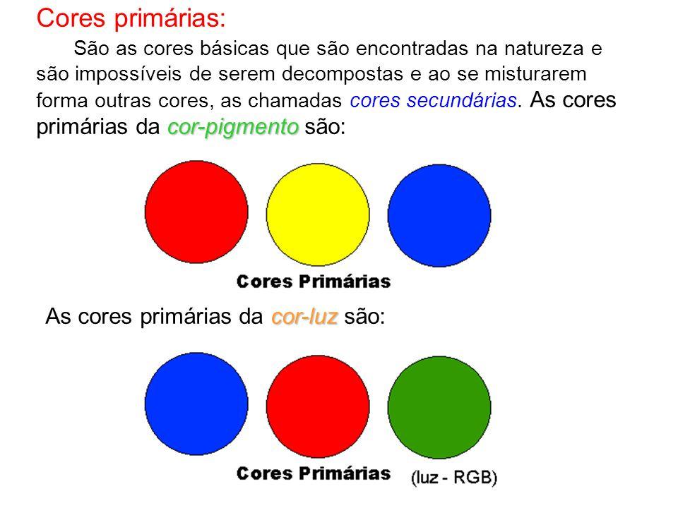 Cores primárias: As cores primárias da cor-luz são:
