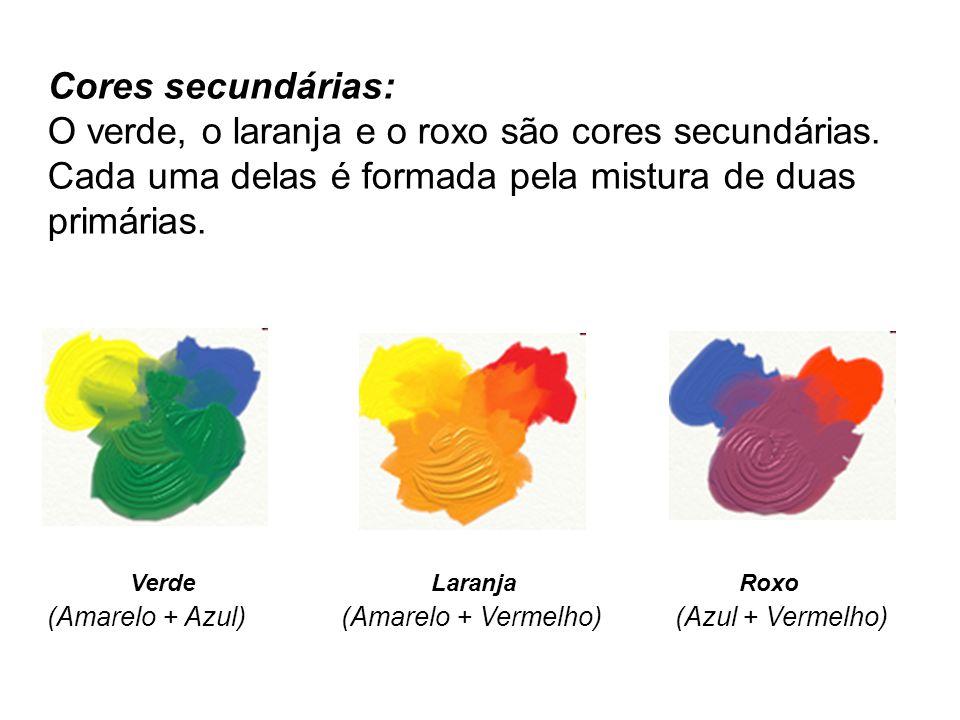 Cores secundárias: O verde, o laranja e o roxo são cores secundárias. Cada uma delas é formada pela mistura de duas primárias.