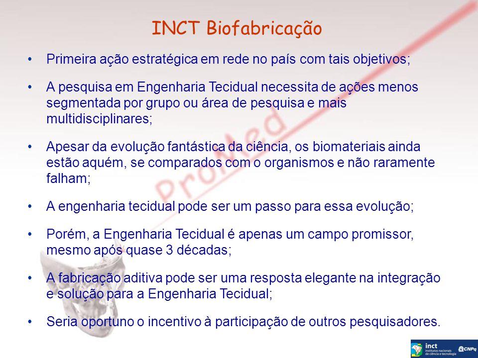 INCT Biofabricação Primeira ação estratégica em rede no país com tais objetivos;