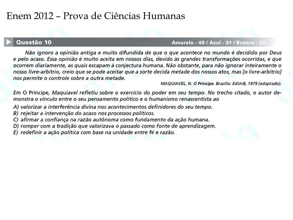 Enem 2012 – Prova de Ciências Humanas