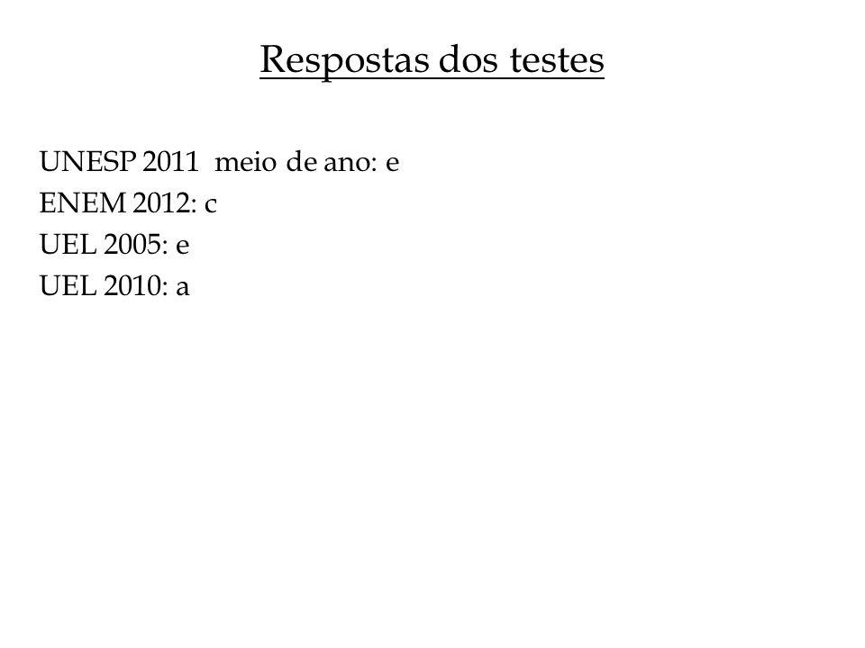 Respostas dos testes UNESP 2011 meio de ano: e ENEM 2012: c