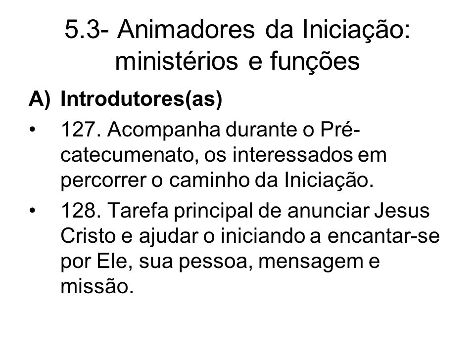 5.3- Animadores da Iniciação: ministérios e funções