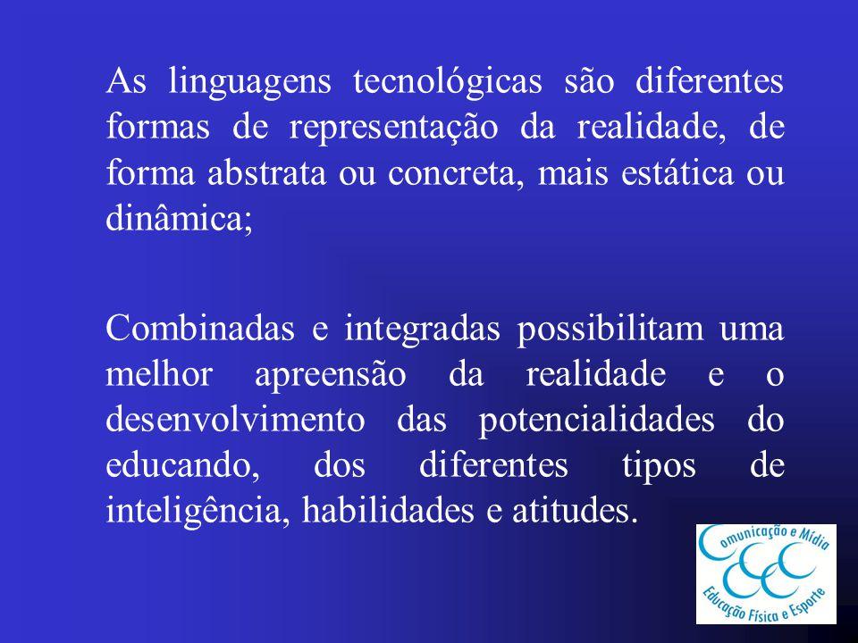 As linguagens tecnológicas são diferentes formas de representação da realidade, de forma abstrata ou concreta, mais estática ou dinâmica;