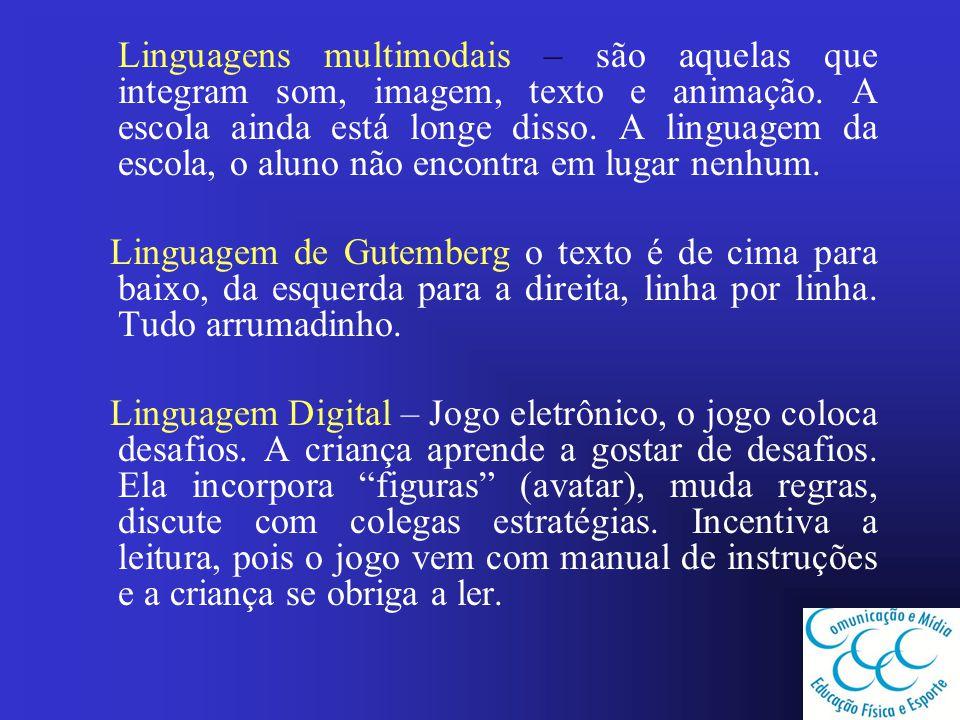 Linguagens multimodais – são aquelas que integram som, imagem, texto e animação. A escola ainda está longe disso. A linguagem da escola, o aluno não encontra em lugar nenhum.