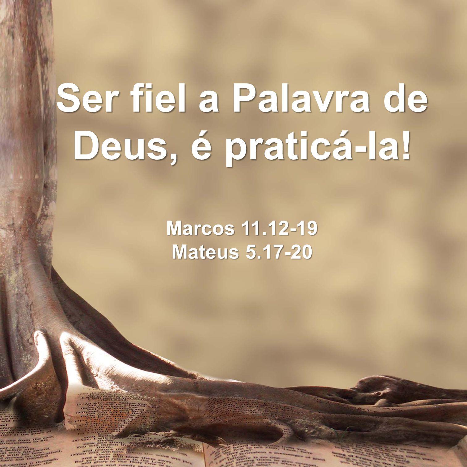 Ser fiel a Palavra de Deus, é praticá-la. Marcos 11. 12-19 Mateus 5