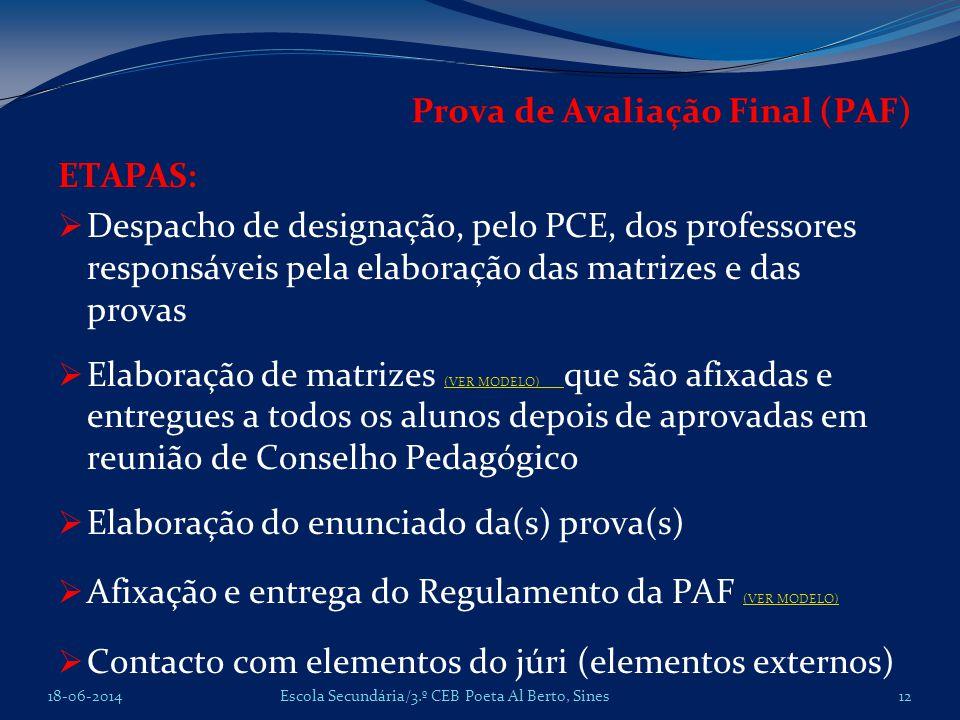 Prova de Avaliação Final (PAF)