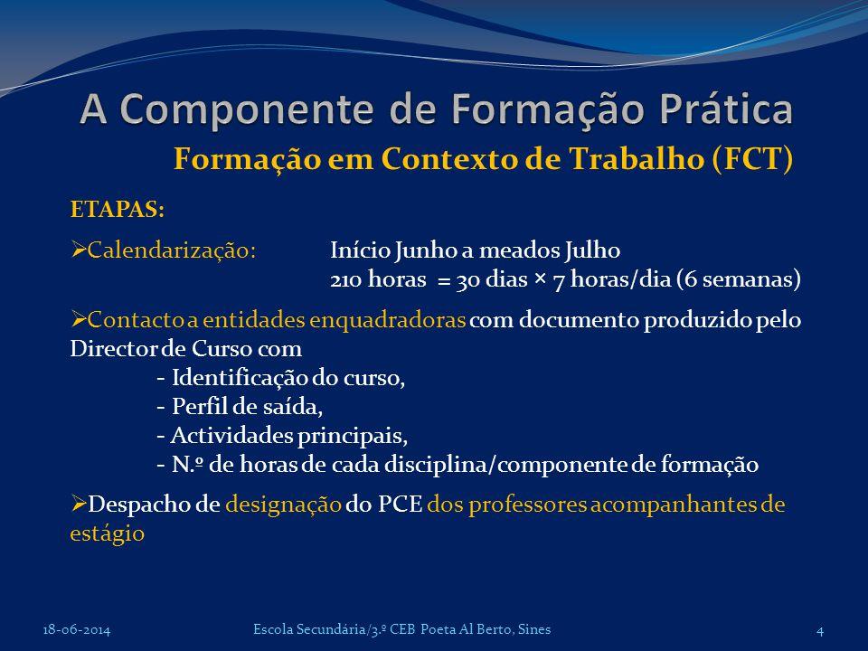 A Componente de Formação Prática