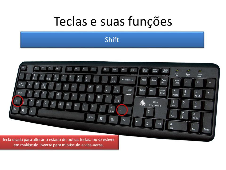 Teclas e suas funções Shift