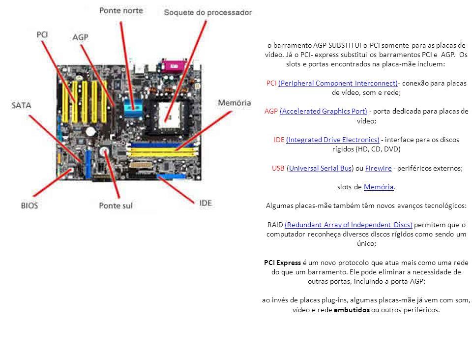 o barramento AGP SUBSTITUI o PCI somente para as placas de vídeo