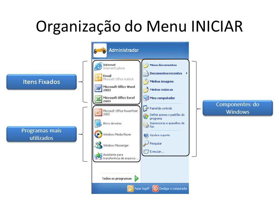 Organização do Menu INICIAR
