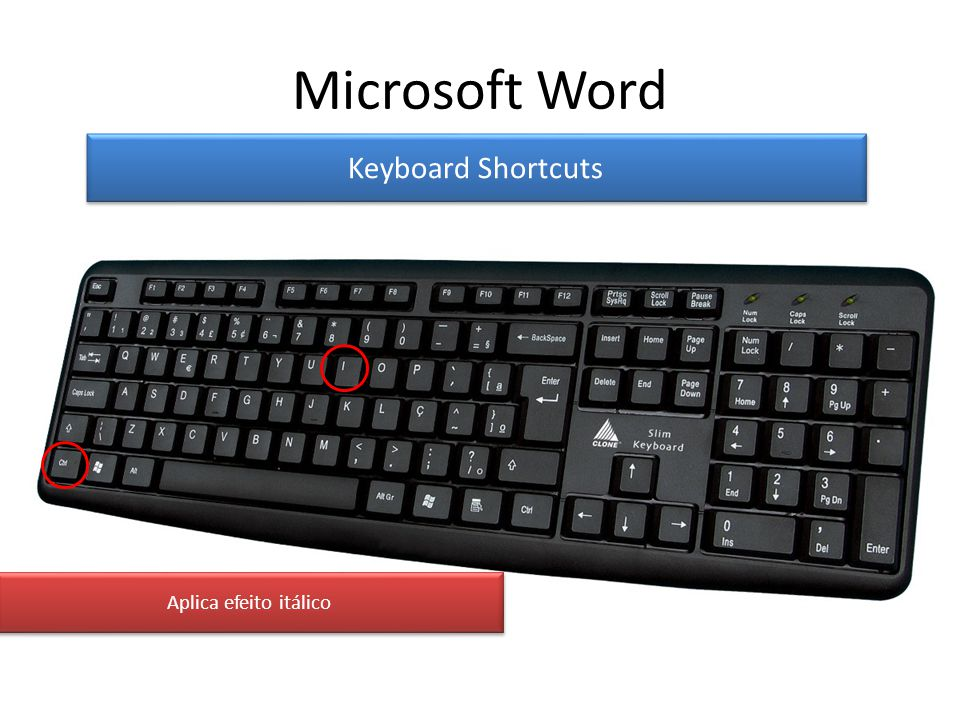 Microsoft Word Keyboard Shortcuts Aplica efeito itálico