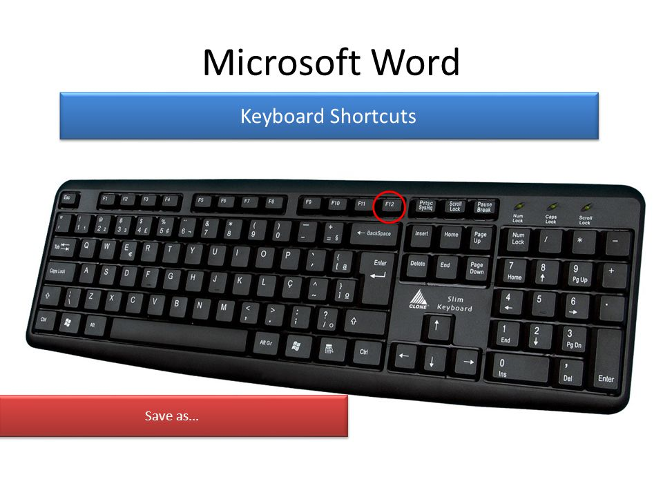 Microsoft Word Keyboard Shortcuts Save as...