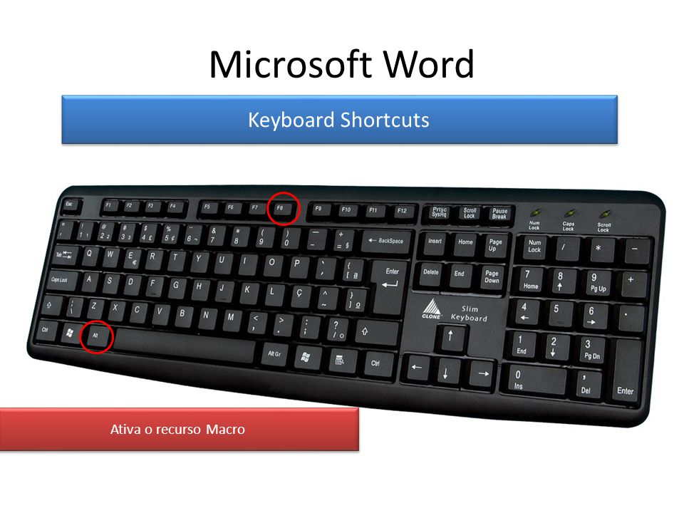Microsoft Word Keyboard Shortcuts Ativa o recurso Macro