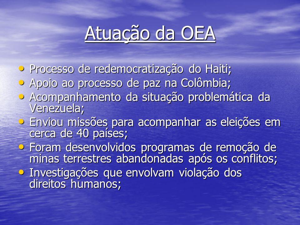 Atuação da OEA Processo de redemocratização do Haiti;